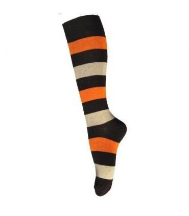 Chaussettes hautes femme coton rayé couleur