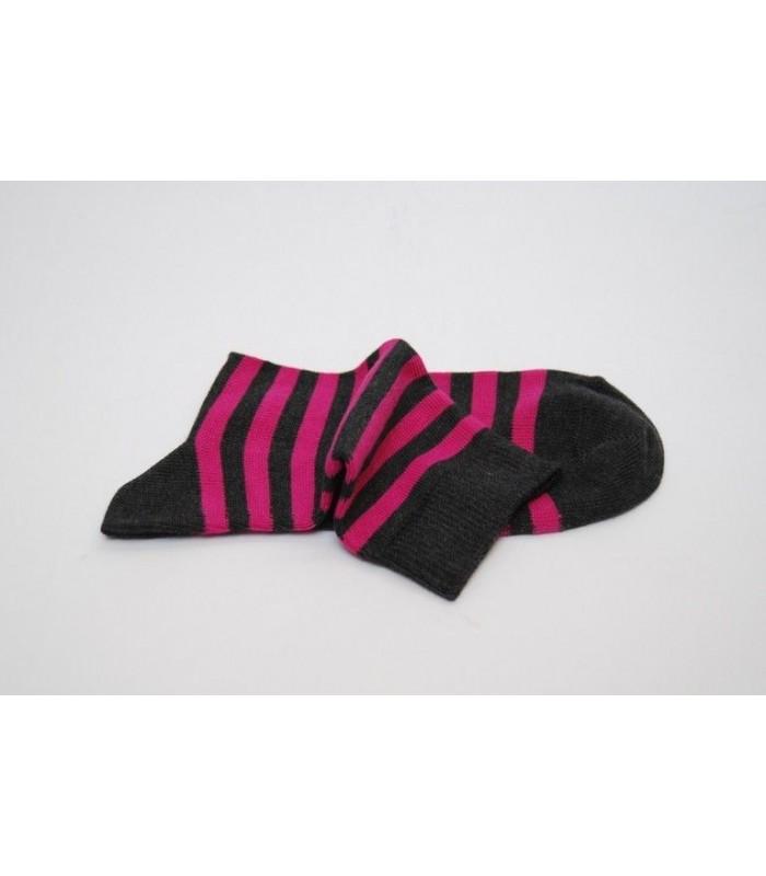 Chaussettes femme rayures coton fushia gris