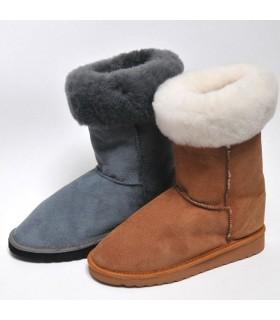 Boots femme en peau d'agneau véritable moka ou gris