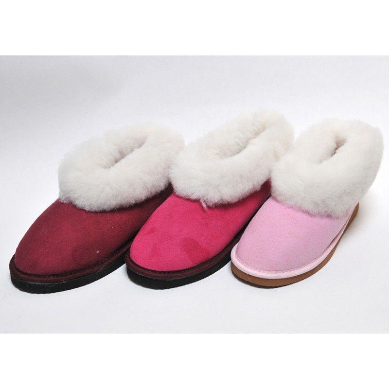 4d7b2f94f3c15 Chaussons chauds suédois pour femme en peau d agneau