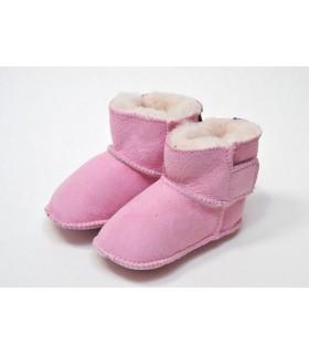 Chaussons de bébés peau d'agneau véritable rose