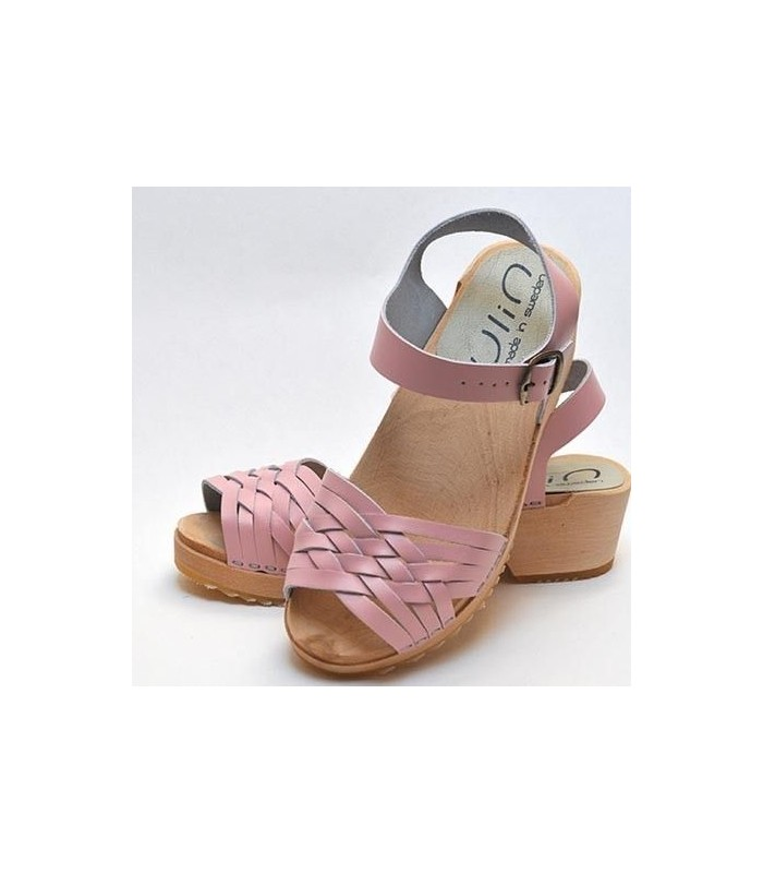 Swedish wooden Sandals braided leather pink
