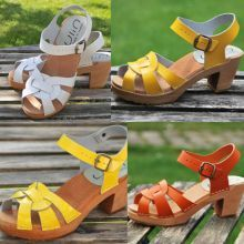 Mujeres suecas sandalias en cuero y barniz cuero madera de tacón alto