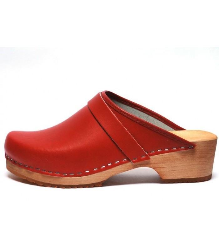 Sabots suédois femme bois et cuir rouge