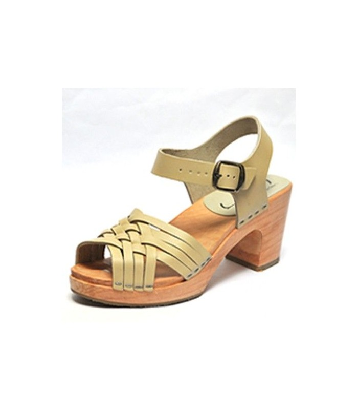 Women's swedish wooden Sandals heels, braided leather
