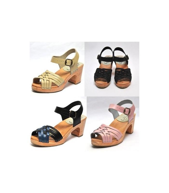 selección premium 59cd1 a8f6d Sandalias mujer sueca tacones altos en madera y rosa o beige cuero