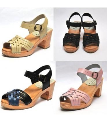 Damen Schwedische Holz Sandalen in geflochtenem Leder und hohe Absatze