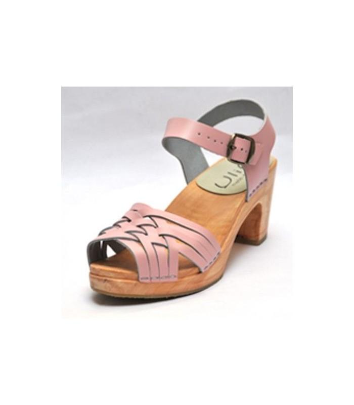 Sandales suédoises femme en cuir tressé et talon haut bois rose
