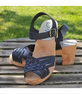 Sandales suédoises femme en cuir bleu tressé et talon haut bois 8 cm