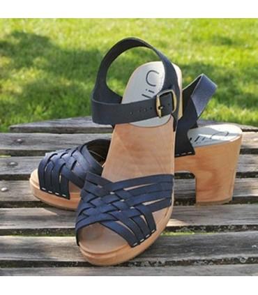Damen Schwedische Holz Sandalen in geflochtenem Leder und hohe Abasatze