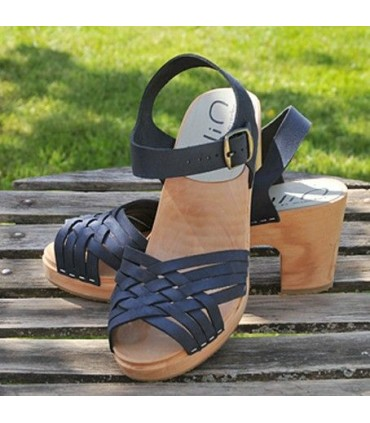 Women's swedish wooden Sandals heels, braided leather vegetal or nubuck