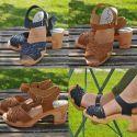 Sandales suédoises en cuir végétal ou nubuck tressé talon haut 8 cm