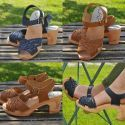 Women's swedish wooden Sandals heels, braided leather vegetal or nubuck