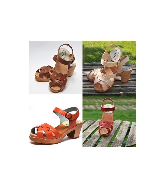 d9a9af6f25b19 Sandales suédoises femme talons bois,cuir vegetal nature rouge orange