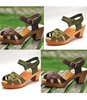Women high heels Swedish wooden Sandals in Nubuck leather
