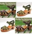 Women  high heels Swedish wooden Sandals in Nubuck leather