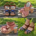 Women Swedish wooden high Sandals in leather
