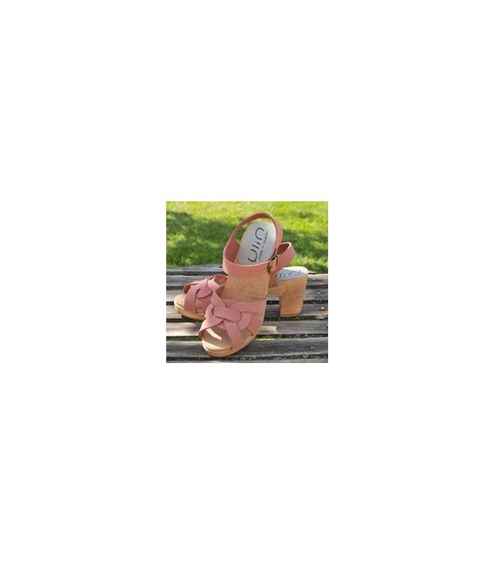 3faa0745f0eca Sandales suédoises hautes femme bois et cuir rose bleu moka. Loading zoom