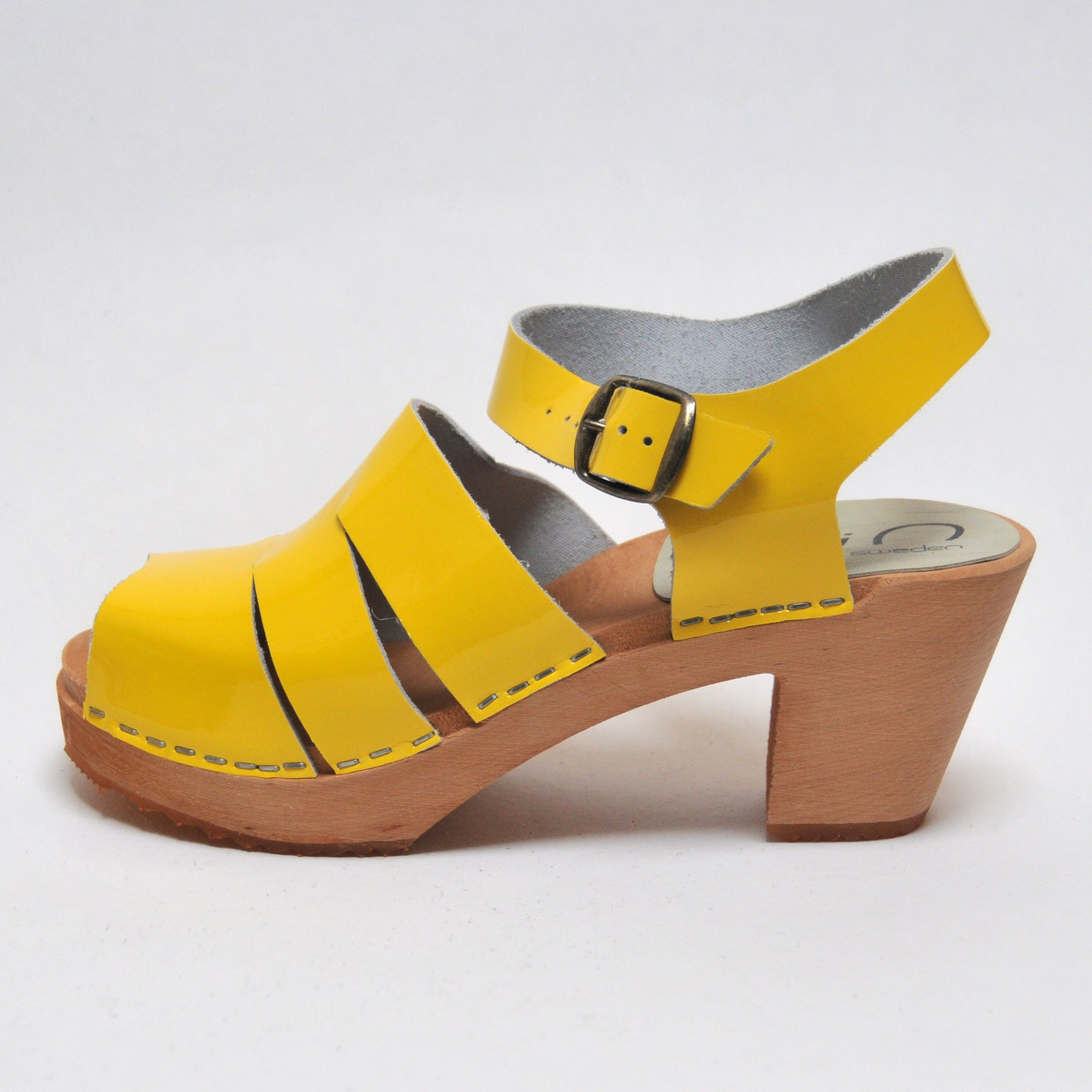 5a63305e90da6 Wood hihheel Swedish Sandals woman buckle vegetal leather