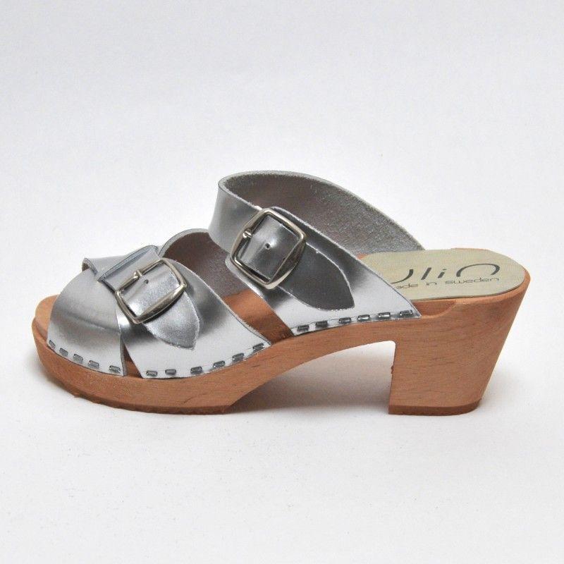909d10cba1846 Sandales suédoises femme en cuir argent et talon haut bois