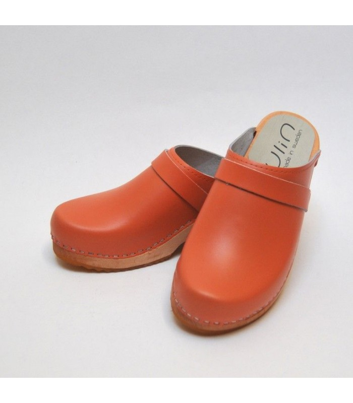 Wooden Swedish women leather clogs