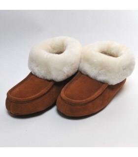 Chaussons chauds en peau d'agneau tannage végétal moka ou gris