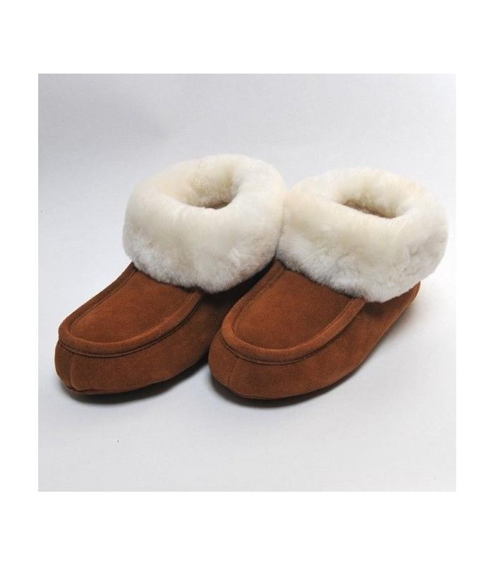 Chaussons chauds en peau d'agneau tannage végétal 38 moka ou gris
