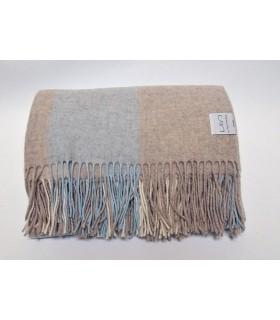 Plaid fin pure laine mérinos à carreaux gris bleu
