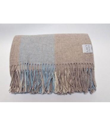 Plaid pure laine mérinos extra fine à carreaux rose ou bleu