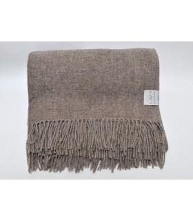 Plaid fin pure laine mérinos beige lin