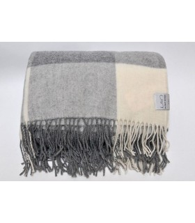 Plaid fin pure laine mérinos carreaux gris ecru