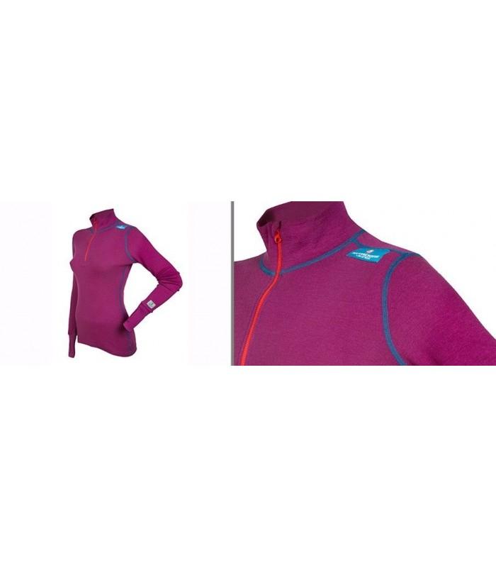 Long sleeves 100% merino wool women Zip Polo pink or navy