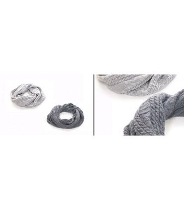 Tour de cou femme en pure laine mérinos gris argent ou gris moyen