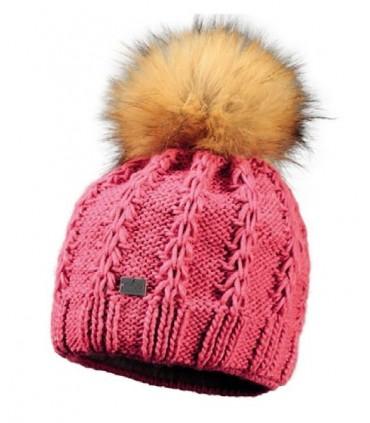 Bonnet femme en laine torsade et pompon rose framboise