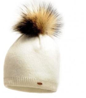 Bonnet en laine fines côtes avec pompon écru