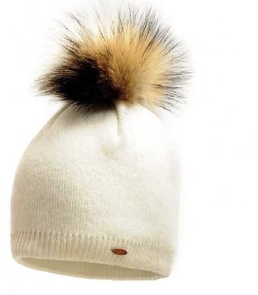 Bonnet en laine fines côtes avec pompon
