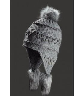 Bonnet péruvien tricoté grosses côtes doublé polaire