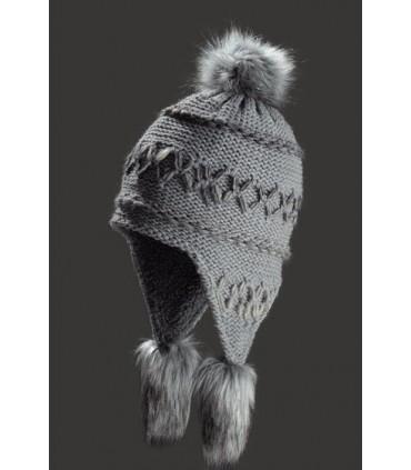 Bonnet péruvien laine tricoté grosses côtes doublé polaire