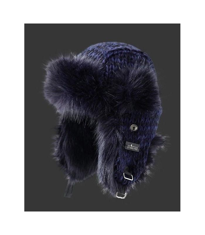Chapka homme en laine et fourrure violet bleu