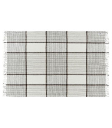 Off-white grey Plaid wool Merino and alpaca