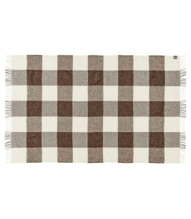 Plaid en pure laine vierge scandinave carreaux beige et marron