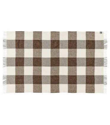 Plaid à carreaux gris ecru et marron en pure laine vierge scandinave