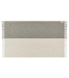 Plaid en pure laine vierge scandinave ecru gris rayé