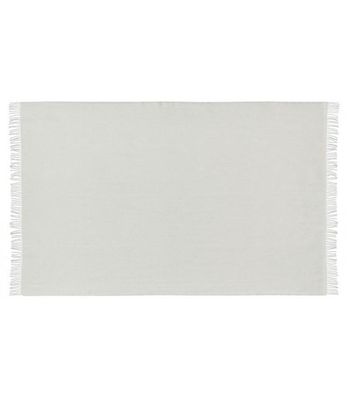 Plaid en pure laine vierge scandinave blanc