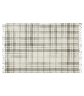 Plaids en pure laine scandinave gris ecru carreaux