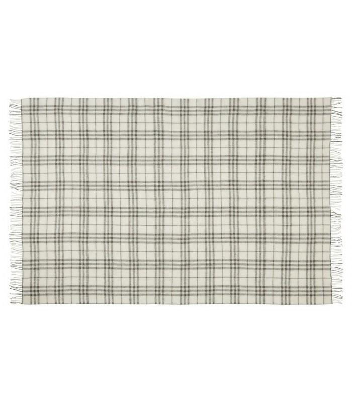 Plaids en pure laine scandinave gris ecru carreaux