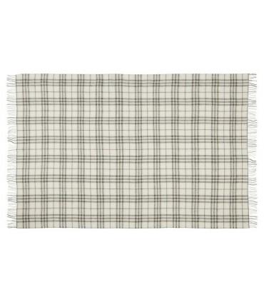 Plaid ecru et gris à carreaux en pure laine vierge scandinave