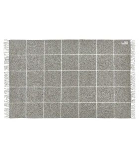 Plaid gris large carreaux en pure laine vierge scandinave