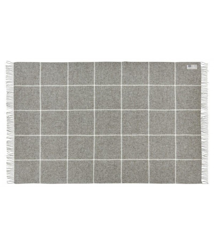 plaid gris avec grands carreaux en pure laine scandinave 140 240 cm. Black Bedroom Furniture Sets. Home Design Ideas