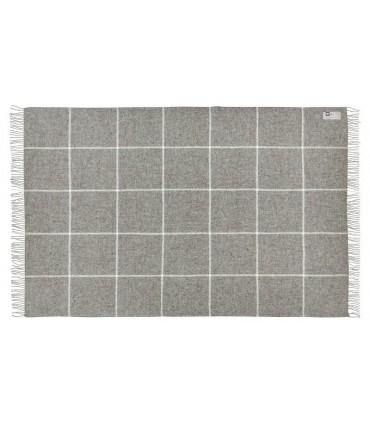 Plaid gris avec grands carreaux en pure laine vierge scandinave